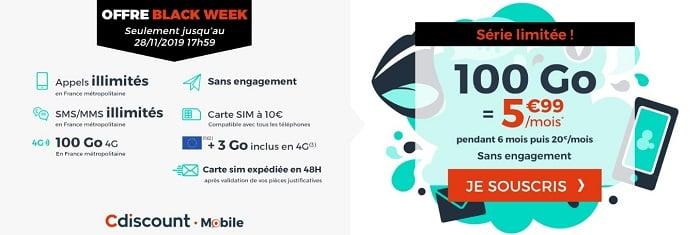 avec l'offre Black Week, le forfait 100 Go est à 5,99€/mois pendant six mois chez Cdiscount Mobile.