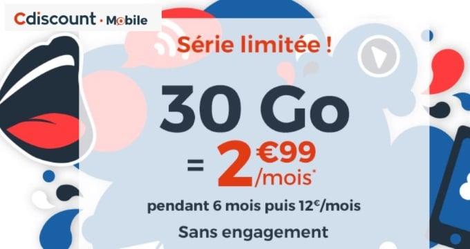 Forfait en promo : abonnement 30 Go Cdiscount Mobile spécial French Days