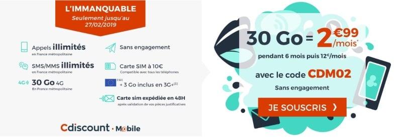 Forfait pas cher : la promo Cdiscount Mobile à 2,99€/mois