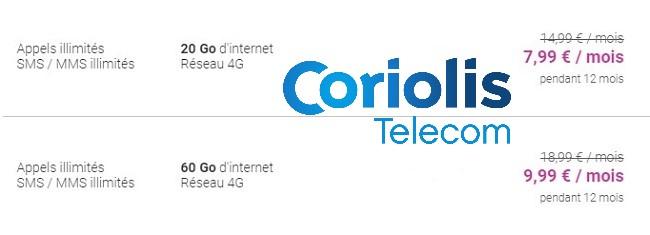 Il ya deux forfaits mobiles en promo actuellement chez Coriolis Telecom