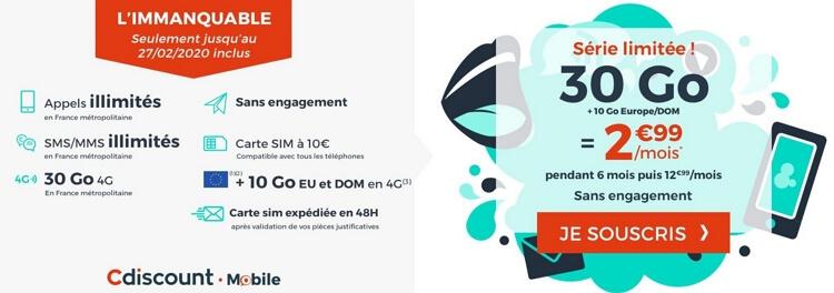 Le forfait en promotion Cdiscount Mobile en détail : 2,99 euros par mois pendant six mois pour 30 Go de 4G