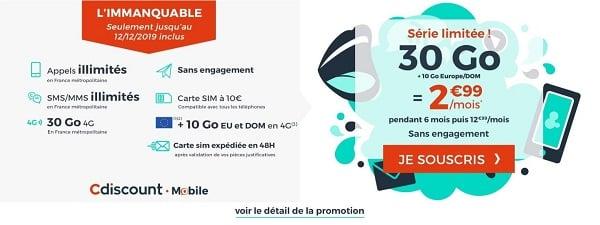 L'immanquable de Cdiscount Mobile est un forfait sans engagement en série limitée jusqu'au 12 décembre, avec 30 Go pour seulement 2,99€/mois