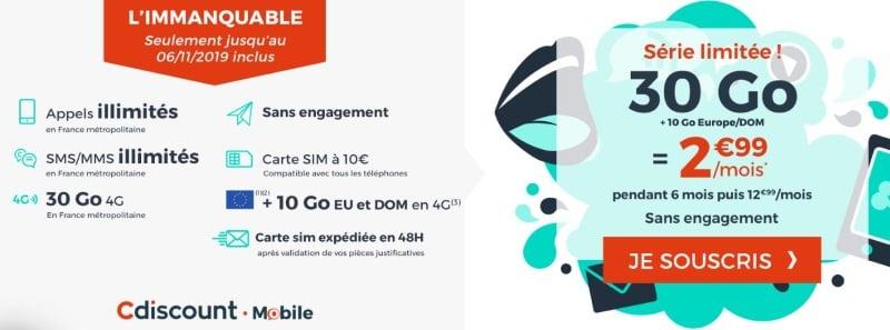 Forfait mobile à petit prix en novembre 2019 : 3 euros par mois pour 30 Go