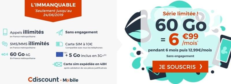 Forfait mobile en promotion en juin 2019 : Cdiscount