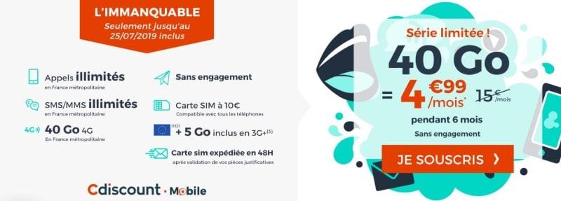 Promo Cdiscount : forfait mobile pas cher pour l'été 2019