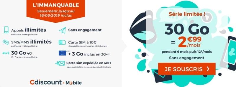 Forfait mobile en promo juin 2019 : immanquable de Cdiscount