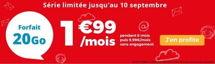 Meilleur forfait en promo en septembre 2019 : Auchan Telecom 20 Go