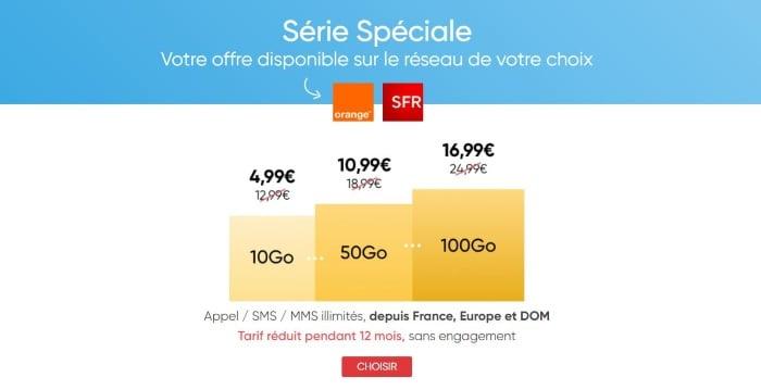 Forfait en promotion Prixtel 10 Go à 4,99 euros par mois, ajustable à 50 ou 100 Go