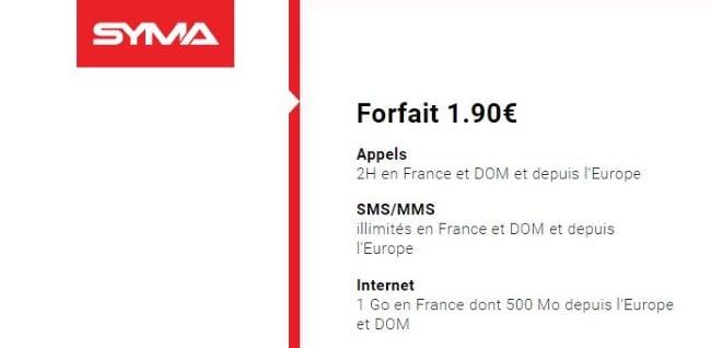 Forfait pas cher Syma Mobile : 1,90 euro par mois