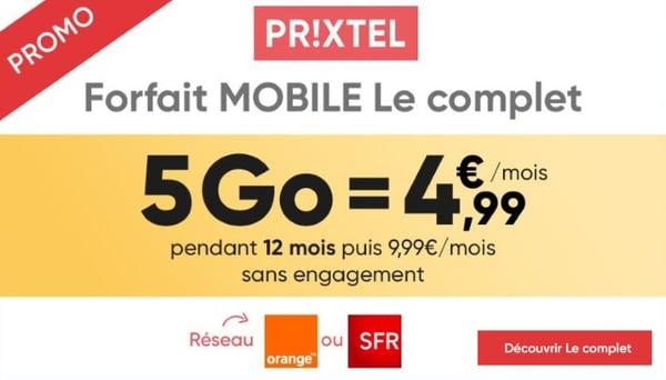 L'offre mobile en promotion de Prixtel sur les réseaux orange ou sfr