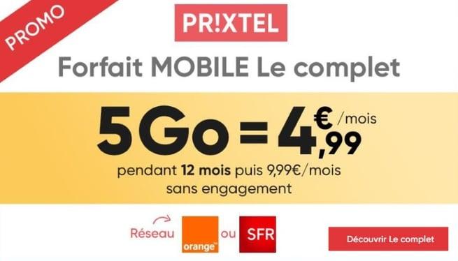 Le forfait mobile pas cher de Prixtel à 4,99 euros par mois pour 5 Go en septembre 2019