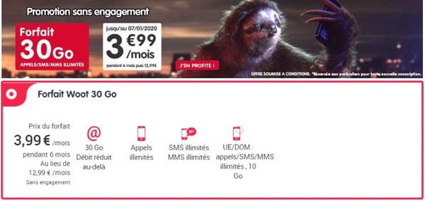 Le forfait NRJ Mobile 30 Go est en promo à 3,99€/mois.