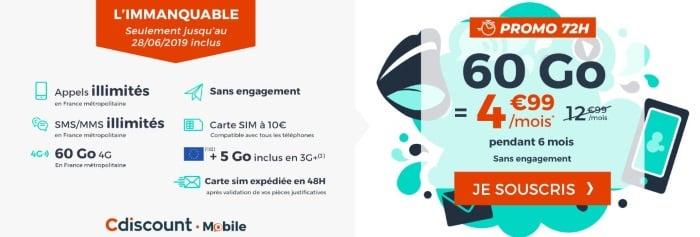 Forfait pas cher en juin 2019 à 5 euros par mois chez Cdiscount Mobile