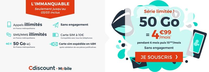 Détails et souscription du forfait en promotion Cdiscount Mobile en mars 2020