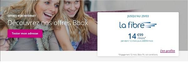 Une bbox fibre, c'est à partir de 14,99€/mois chez Bouygues