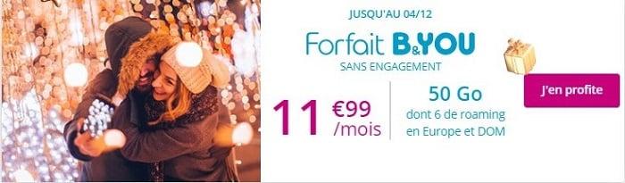Forfait en promotion : la série spéciale B&YOU 50 Go à 11,99€/mois à vie est prolongé jusqu'au 4 décembre