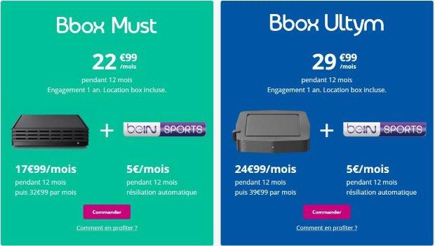 BeIN SPORTS pas cher avec une box Internet Bouygues : Bbox Must ou Bbox Ultym