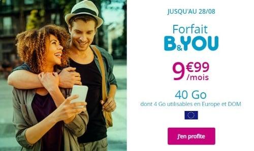 Promo forfait mobile chez Bouygues Telecom jusqu'au 28 août 2019