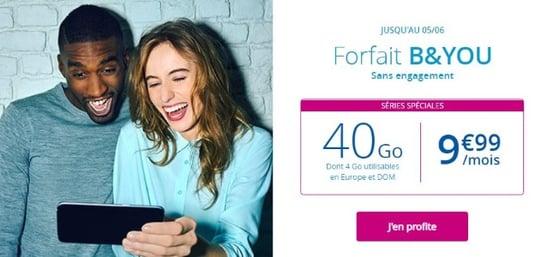forfait pas cher chez Bouygues Telecom : B&You 40 Go à 9,99 euros par mois