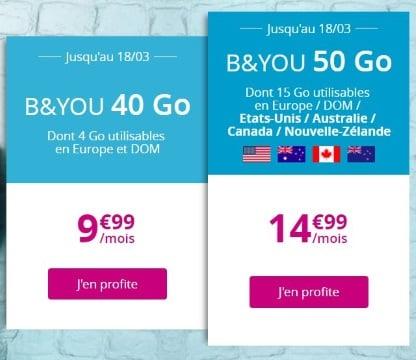 Forfait Bouygues en promo : B&You 40 Go et B&You 50 Go spécial voyages