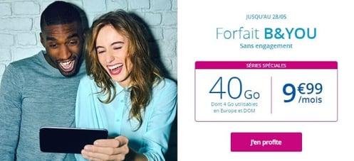 Forfait Bouygues sans engagement : abonnement B&You en promotion