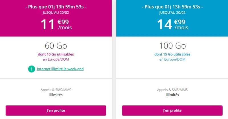Les deux forfaits mobiles en série limitée disponibles ches Bouygues Telecom en février 2020 : 60 Go à 12€/mois ou 100 Go à 15€/mois