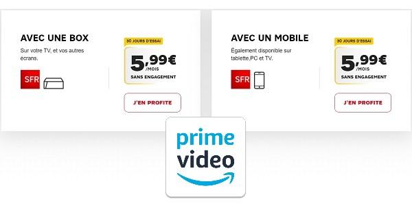 Amazon Prime Videi est au tarif de 5,99€/mois avec les offres Internet de SFR