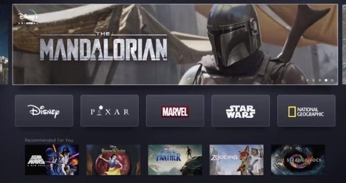 Interface Disney Plus