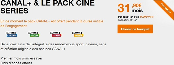 Promotion Orange sur l'offre Canal+ avec le pack Ciné Séries