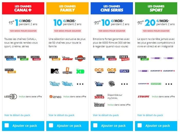 Promo sur les chaînes canal Plus à 1 euro