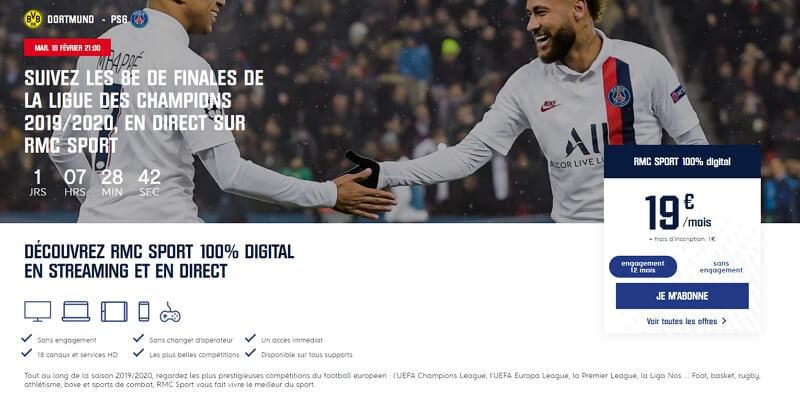 Souscrire l'abonnement RMC Sport pour regarder Dortmund - PSG le 18 février 2020