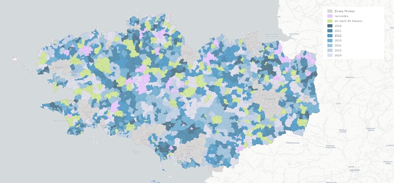 Fibre en Bretagne : la carte du déploiement de la fibre optique en zone rurale jusqu'en 2026