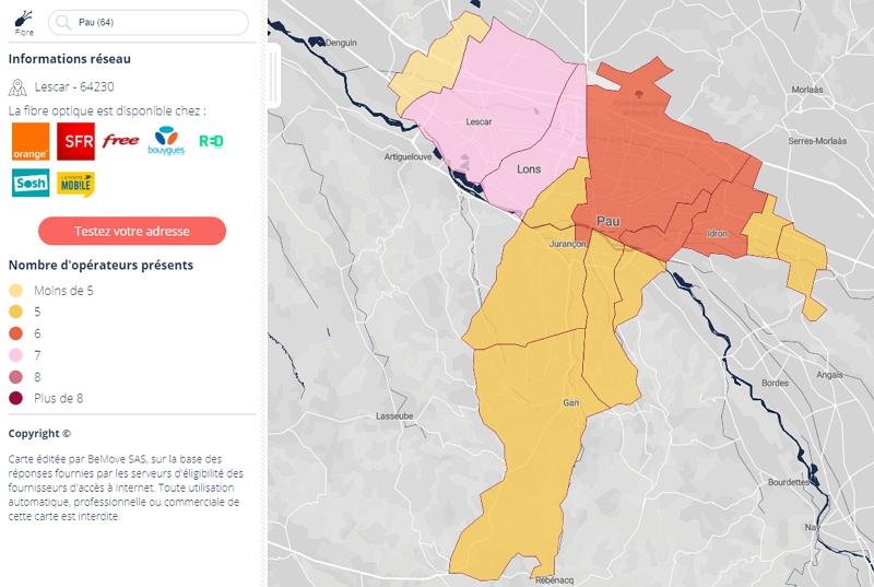 Eligibilité à la fibre optique à Pau en 2019