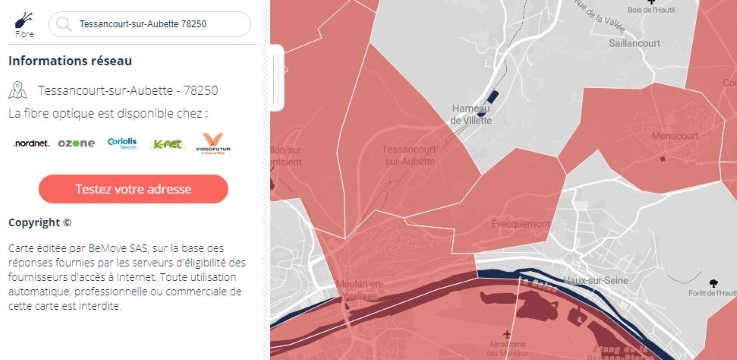 Carte de la fibre dans les Yvelines
