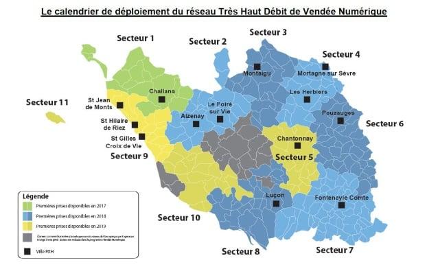 Calendrier du déploiement fibre en Vendée