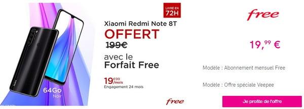 forfait free le xiaomi redmi note 8t offert avec l 39 abonnement
