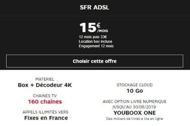 Offre Internet ADSL à 15 euros chez SFR