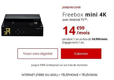 Offre Internet ADSL : Freebox Mini 4K