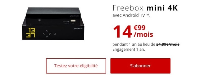 L'offre Internet Freebox Mini 4K en promotion