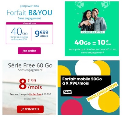 Comparatif : forfaits mobiles en promotion en juin 2019