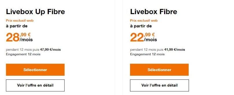 Orange : les abonnements Livebox fibre