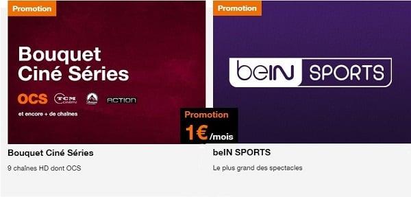 Le bouquet Ciné Séries avec les chaînes OCS et le bouquet avec toutes les chaînes beIN Sports sont en promotion chez Orange à seulement 1€/mois.