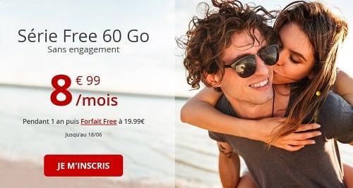 La série Free 60 Go, le forfait pas cher le moins cher.