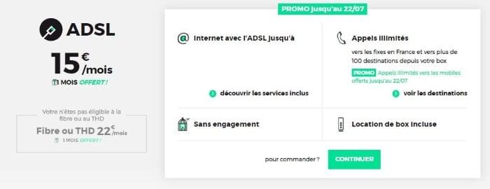 L'abonnement Internet RED ADSL à 15 euros par mois en juillet 2019