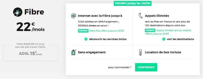 Promo fibre avec la box RED à 22 euros par mois