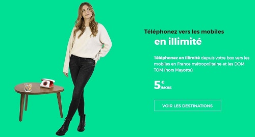 L'option appels illimités vers les mobiles est à 5€/mois avec la RED box et la boîte Sosh