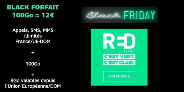 Le black forfait RED est à 12€mois à vie.