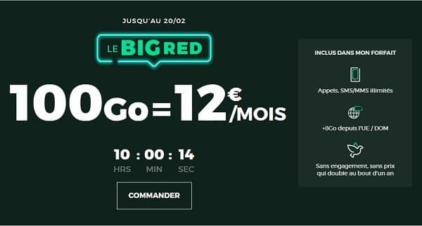 le forfait BIG Red 100 Go est à 12€/mois