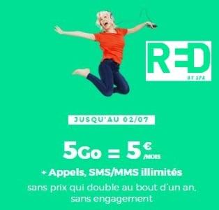 Forfait RED à prix réduit en juillet 2019