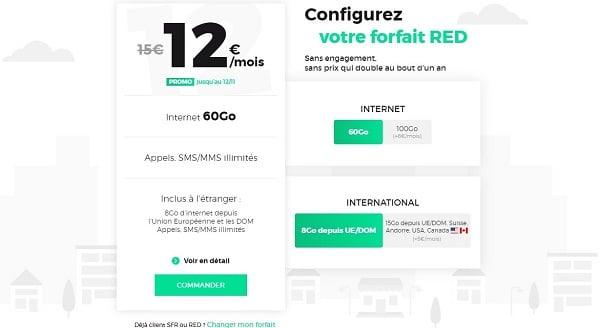 Le forfait mobile RED 60 GO est à seulement 12€/mois à vie